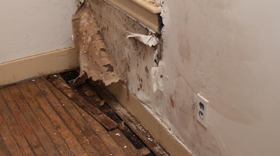 Water damaged interior